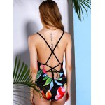 best Vintage Floral Printed Back Criss-Cross One-Piece Swimwear For Women