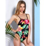 cheap Vintage Floral Printed Back Criss-Cross One-Piece Swimwear For Women