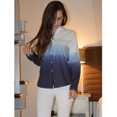 Stylish V-Neck Long Sleeve Gradient Color Blouse For Women