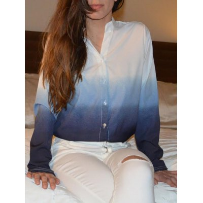 V-Neck Long Sleeve Gradient Color Blouse For Women