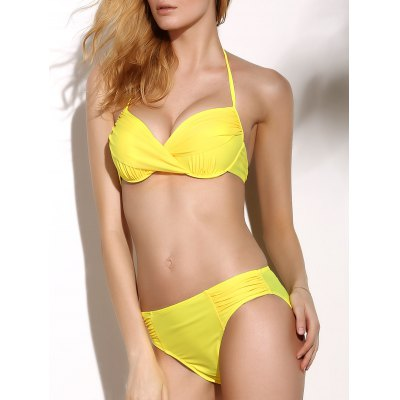 Halter Neck Twist Ruched Underwire Three Piece Backless Bikini Set