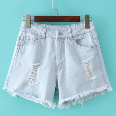 Mid Rise Ripped Denim Jeans Shorts