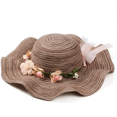 Chic Stripe Pattern Bowknot Flower Decorated Beach Straw Hat For Women