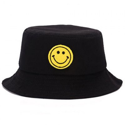 Chic Cartoon Smile Expression Embroidery Bucket Hat For Men