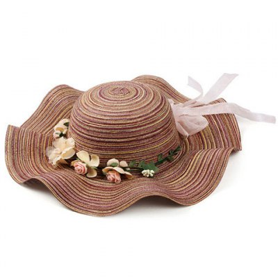 Stripe Pattern Bowknot Flower Decorated Beach Straw Hat For Women