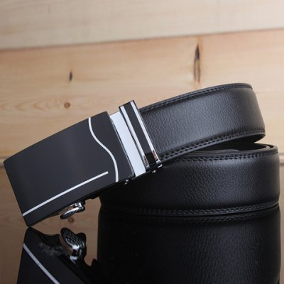 Stylish Wavy and Vertical Stripe Shape Inlay Buckle Black Wide Belt For Men