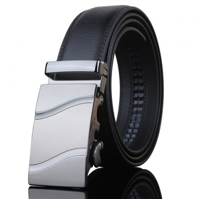 Stylish Wavy Stripe Shape Embellished Metal Buckle Black Wide Belt For Men