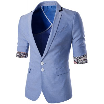 Lapel Single Breasted Paisley Hemming Three-Quarter Sleeves Blazer For Men