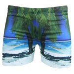 Vogue Elastic Waist 3D Seabeach Tree Print Boxer Swimming Trunks For Men
