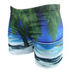 cheap Vogue Elastic Waist 3D Seabeach Tree Print Boxer Swimming Trunks For Men