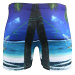 Vogue Elastic Waist 3D Seabeach Tree Print Boxer Swimming Trunks For Men deal