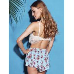Chic Lace Spliced Bikini and Flower Shape Boxers Three-Piece Swimwear For Women photo
