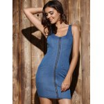 cheap Mini Zip Up Denim Night Out Bandage Dress