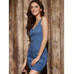 Mini Zip Up Denim Night Out Bandage Dress deal