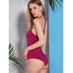 Alluring Halter Neck Solid Color Women's Swimwear deal