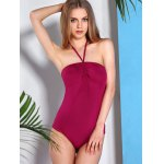 best Alluring Halter Neck Solid Color Women's Swimwear