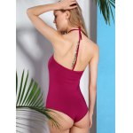 Alluring Halter Neck Solid Color Women's Swimwear for sale