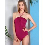 cheap Alluring Halter Neck Solid Color Women's Swimwear