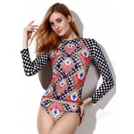 cheap Geo Print Mock Neck Rashguard Set