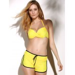 Graceful Halter Neck Twist Ruched Three Piece Underwire Backless Bikini Set For Women deal