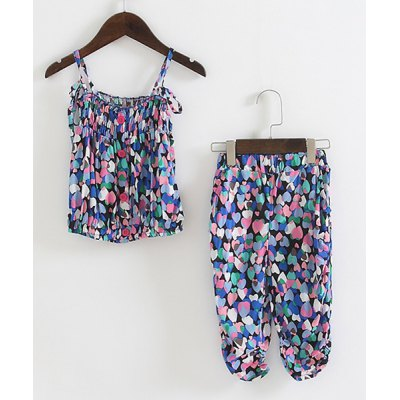 Sweet Colorful Heart Print Cami Top + Crop Pants Girl's Twinset