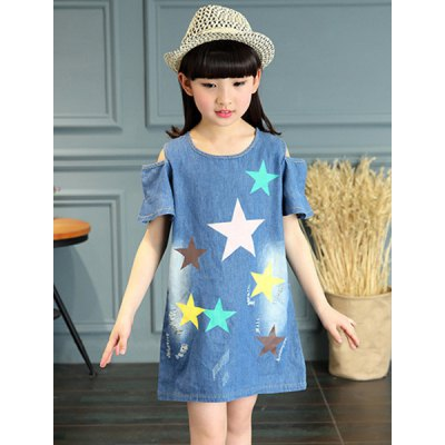Fashionable Hollow Out Star Print Girl's Denim Dress