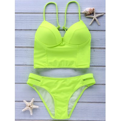 Trendy Spaghetti Strap Criss-Cross Solid Color Women's Bikini Set