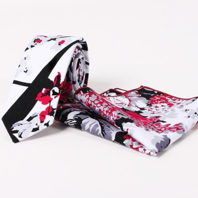 Handpainted Plant Pattern Tie and Handkerchief For Men