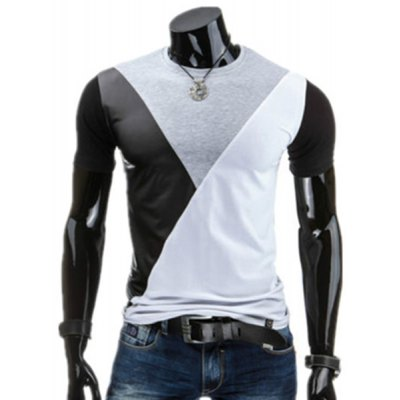 Round Neck PU-Leather Spliced Design Short Sleeve T-Shirt For Men