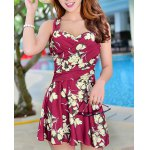 cheap Floral Print Skirted One Piece Swimsuit