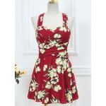 Floral Print Skirted One Piece Swimsuit for sale