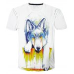 Round Neck 3D Pigment Dog Printed Color Block Short Sleeve T-Shirt For Men