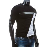 cheap Round Neck PU-Leather Splicing Design Short Sleeve T-Shirt For Men