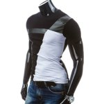 Round Neck PU-Leather Splicing Design Short Sleeve T-Shirt For Men deal