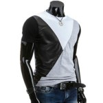 cheap Round Neck PU-Leather Spliced Design Short Sleeve T-Shirt For Men