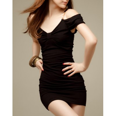 Fashionable Plunging Neck Short Sleeve Solid Color Skinny Women's Dress