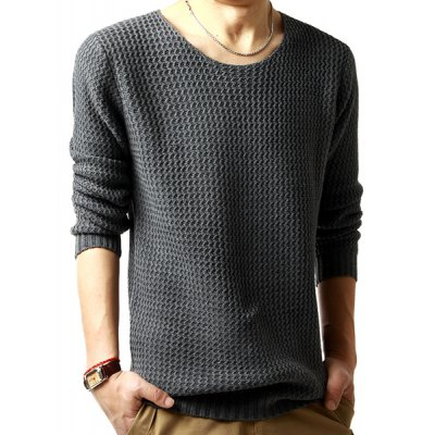 Solid Color Wavy Stripes Jacquard Round Neck Long Sleeves Sweater For Men
