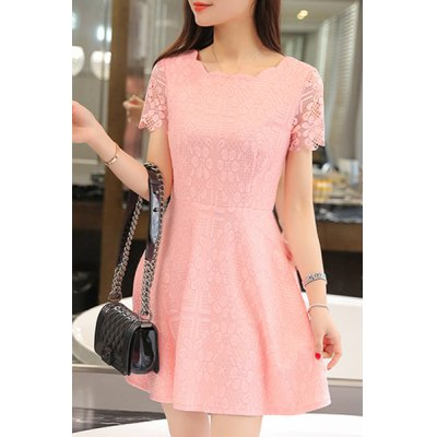 Jewel Neck Short Sleeve Lace A-Line Dress For Women