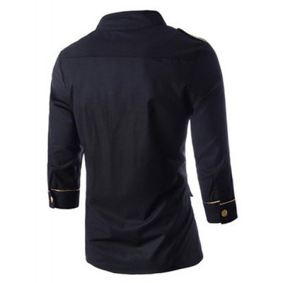 Stand Collar Epaulet Design Three-Quarter Sleeve Men\s Black ShirtMens Shirts<br>Stand Collar Epaulet Design Three-Quarter Sleeve Men\s Black Shirt<br><br>Collar: Stand Collar<br>Material: Cotton, Polyester<br>Package Contents: 1 x Shirt<br>Shirts Type: Casual Shirts<br>Sleeve Length: Three Quarter<br>Weight: 0.220kg