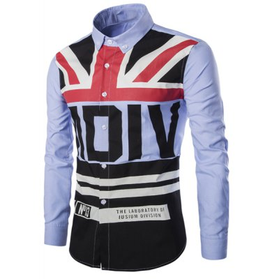 Turn-Down Collar Stripe Flag and Letters Print Long Sleeve Shirt For Men