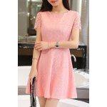cheap Trendy Jewel Neck Short Sleeve Lace A-Line Dress For Women