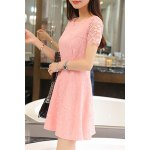 Trendy Jewel Neck Short Sleeve Lace A-Line Dress For Women deal