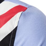 Turn-Down Collar Stripe Flag and Letters Print Long Sleeve Shirt For Men deal