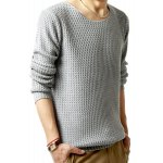 cheap Solid Color Wavy Stripes Jacquard Round Neck Long Sleeves Sweater For Men