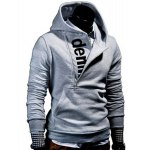 cheap Half Zipper Front Pocket Letters Print Hooded Long Sleeves Hoodie For Men