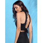 Chic Turtleneck Sleeveless Solid Color Backless Lace Spliced Crop Top For Women deal
