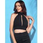 cheap Chic Turtleneck Sleeveless Solid Color Backless Lace Spliced Crop Top For Women