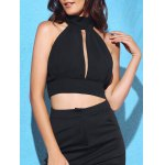 Buy Chic Turtleneck Sleeveless Solid Color Backless Lace Spliced Crop Top Women M BLACK