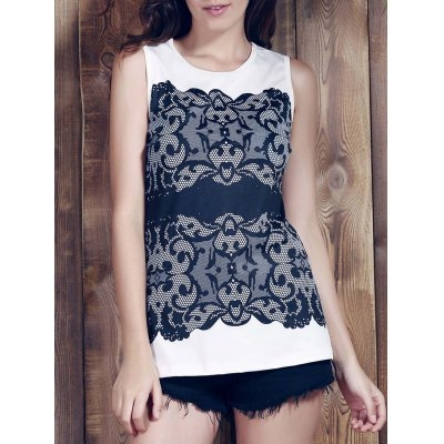 Round Collar Sleeveless Lace Print Slimming Women's Tank Top