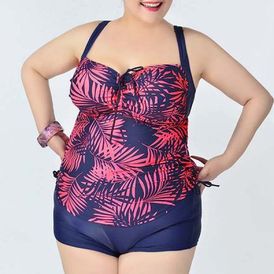 Simple Spaghetti Strap Leaves Print Two Piece Swimsuit For Women